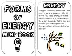 Forms of Energy Mini Book: definitions, examples, review lesson- 2 versions of this mini book are included to interactively teach about the forms of energy. Included are: Energy definition Potential and Kinetic Energy Light, Sound, Thermal (Heat), Electrical, Mechanical, Chemical, Gravitational, Elastic, Nuclear Energy Matching and Fill in the Blank Review