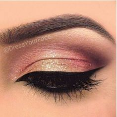 Lovely christmas eye make up colours, cranberry and gold with gorgeous dark wing….