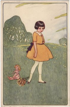 Sad Girl, vintage postcard IDEA: love the trees/background w/ girl set into it