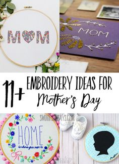 Sharing several free hand embroidery patterns for Mothers Day in this list of Embroidery Ideas for Mothers Day - great handmade gifts to stitch!