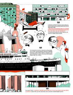 Infografía de la vida de Le Corbusier por Vincent Mahé, Cortesía de Vincent Mahé