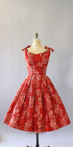 Vintage 50s Dress/ 1950s Cotton Dress/ Alfred Shaheen Red Hawaiian Print Cotton…