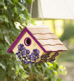 Purple Aster Wren Birdhouse