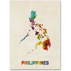 Trademark Fine Art Philippines Watercolor Map Canvas Art by Michael Tompsett, Size: 14 x 19, Red