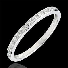Alliance Eclats de diamant - or blanc et diamants - demi-tour (Alliances Mariage) : bijoux edenly