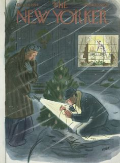 Fashion Illustrations The New Yorker December 18 1954 - The New Yorker December 18 1954 The New Yorker, New Yorker Covers, Vintage Christmas Cards, Christmas Images, Christmas Art, 1950s Christmas, Christmas Lights, Book And Magazine, Magazine Art
