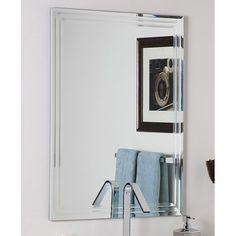 #Frameless #Wall# Mirror Home Decor Bathroom Vanity Tri-Bevel Lightweight 31.5 Tall  #Contemporary