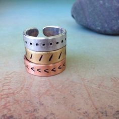 Copper Secret Message Ring, Personalized Ring, Best Friend Rings, Custom Cuff Ring, Anniversary Ring, Hidden Message Ring by Red Fern Studio on Etsy