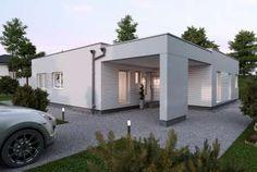 Fertighaus - Elk Fertighaus GmbH - ELK Design Bungalow 138 Modern Bungalow House Plans, Bungalow Haus Design, Small House Design, Modern House Design, Bungalows, Residential Architecture, Interior Architecture, Town Country Haus, House Construction Plan