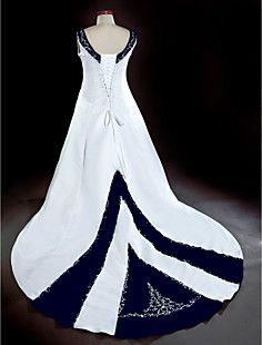 A-line V-neck Chapel Train Satin Plus Size Wedding Dress – USD $ 147.49