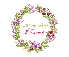 Digital clipart - watercolor floral frame Perfect as a part of your graphic design, ideal for wedding invitations, greeting cards and much more. Watercolor Projects, Wreath Watercolor, Watercolor Cards, Watercolor Illustration, Watercolor Flowers, Floral Logo, Pastel Floral, Wedding Frames, Flower Cards