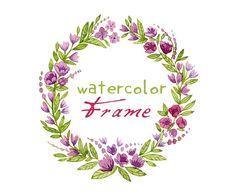 Violet, Purple Digital Wreath Digital Clipart Watercolor by SwiejkoForPrint, $4.00
