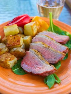 Pan Grilled Duck Breast with Duck Fat Paprika Potatoes via @DadCooksDinner