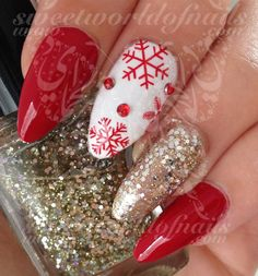 Christmas Xmas Nail Art Red Snowflakes Water Decals Nail Transfers Wraps