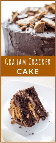 Delicious graham cracker cake with milk chocolate frosting. Perfect to make for birthdays and special occasions. via /savory_tooth/ Delicious Cake Recipes, Cupcake Recipes, Yummy Cakes, Cupcake Cakes, Cupcakes, Amazing Recipes, Chocolate Frosting, Chocolate Desserts, Brownie Frosting