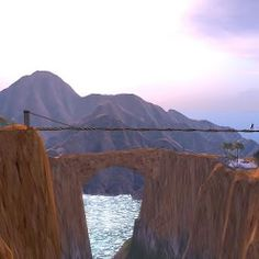Dahlia Jayaram prepares to cross the foot bridge between the cliffs in Second Life's Grand Canyon.