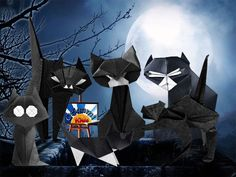 Black Cats 0n the Chimney   Several Autors: Cat by Teruo Tsuji, Cat by Mieko Seta, Cat by Gilad Aharoni,   Cat by Eiji Tsuchito, White Socks by Jun Maekawa and Halloween Cat by Fred Rohm  Folded and Photo: @origami_kids  How to fold each cat: http://origami-blog.origami-kids.com/category/how-2-make/origami-cats