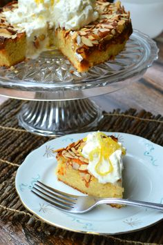 Low Carb & Keto Friendly Lemon, Almond & Ricotta Cake with whipped cream.