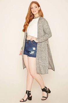 Forever 21+ - A longline, marled knit cardigan featuring long sleeves, side slits, and a draped front. #forever21plus