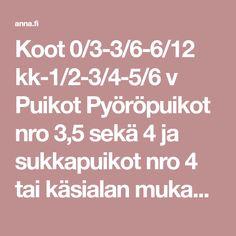Koot 0/3-3/6-6/12 kk-1/2-3/4-5/6 v Puikot Pyöröpuikot nro 3,5 sekä 4 ja sukkapuikot nro 4 tai käsialan mukaan Tiheys 22 s … Lifestyle