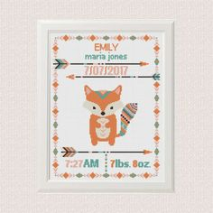 Hey, I found this really awesome Etsy listing at https://www.etsy.com/listing/516403729/cross-stitch-birth-announcement-fox