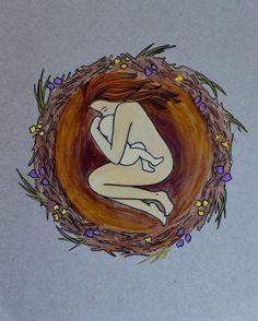 NEST 8.5 x 11/ inspirational art/ birth art/ by StudioSpiritYSol