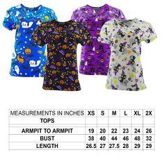 03340f9c3a1 Scrubs 105419: Halloween Scrub Tops Size Xs-2Xl New Nursing Medical Scrub  Tops Holiday