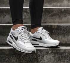 Men's Nike Air Max 90 Essential White/Black For Sale Air Max 90 Cuir, Air Max 90 Leather, Tenis Nike Air Max, Zapatillas Nike Air, Nike Air Max Blanche, Nike Noir, Air Max 90 Black, Nike Shoes Air Force, Nike Air Max For Women