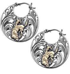8f1f22649 Pendleton Round Up Hand Engraved Sterling Silver and Gold Bronc Earrings