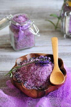 DIY Lavender Bath Salts (1 cup Epsom salt, 1/2 cup Sea salt, 2 tablespoons dried lavender buds, 10-15 drops of lavender essential oil, and a few drops of lavender soap colorant)