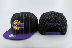 NBA LA Lakers Snapback Hats Caps Mitchell And Ness Black 2492|only US$8.90