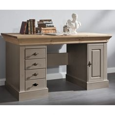 Schreibtisch Bergen - Kiefer massiv - Grau/Laugenfarbig