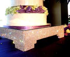 20 Square Crystal Cake Stand by POSHWeddingDecor on Etsy
