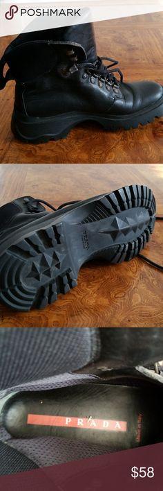 PRADA BLACK BOOTS HIKING BOOTS PRADA Shoes Combat & Moto Boots