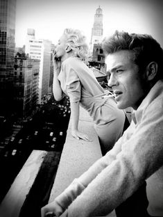 ~Marilyn Monroe and James Dean in a Candid shot off set.