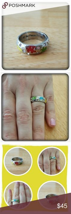 """NWOT Woman's Autism Awareness Ring Sz 10 Brand New Never Worn Woman's Autism Awareness Ring Sz 10. This Ring Is Beautiful With An Inscription On The Inside For Extra Meaning """"UNTIL ALL THE PIECES FIT I WON'T GIVE UP HOPE"""" 🚫 PAYPAL 🚫 TRADES 🚫 LOWBALLING ❤ Jewelry Rings"""