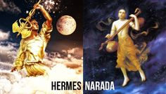 Both of these Gods are known as the messengers and well as mischievous tricksters. They each were skilled in music and invented musical instruments. Hermes invented the Lyre while Narada invented the Vina. Greek Goddess Of Wisdom, Greek Gods, Saraswati Devi, Similarities Between, Mount Meru, Departed Soul, Mythological Characters, Indian Gods, Greek Mythology