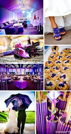 San Diego wedding photographers: Purple wedding photos of purple shoes, bouquets, purple umbrella, purple wedding cake, purple accessories