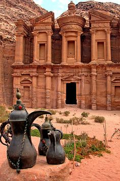 Petra, in Jordan, near the Dead Sea. It was carved from the mountain and has tunnels. This is the monastery begun in 1 BC, but other parts begun 3 BC. Now a UNESCO Heritage site.