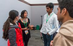 """Shaila Kotadia, Synberc Education & Outreach Manager, talking with 2014 iGEM Jamboree participants at our """"How to Get into Grad School"""" workshop"""