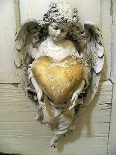 Vintage angel vintage flowers heart gold angel statue cherub