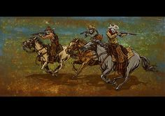 The outlaws race across the desert's rough terrain on their way to freedom. Canvas Prints The ready-to-hang Running from the Law canvas prints are produced with archival ink on museum-grade, gallery-w