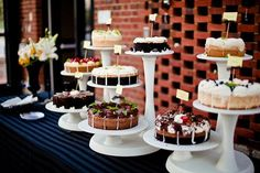 If you can't pick just one wedding cake, why not have an assortment of cakes? Even better, how about a cheesecake buffet? [Lucy Dylan Weddings] #AbsolutelyIN #AbsolutelyINto #theINcrowd
