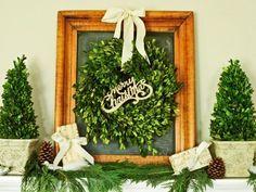Bricolage Noël couronne de porte en buis décorée de noeud