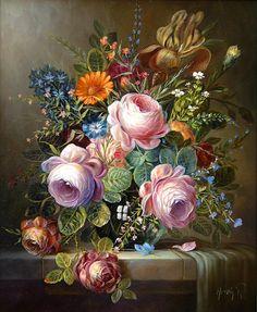 Blumen-Stillleben - Ölmalerei Atelier Herdin