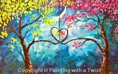 """Painting With a Twist - Encore! """"Love Tree Set"""" in Austin at"""