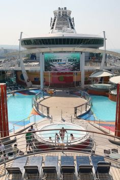 Liberty of the Seas new outdoor movie screen located on the pool deck.