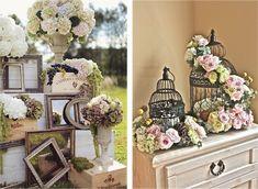 Dale un toque único con los marcos de fotos! Un estilo campestre completado con flores, jaulas y muebles vintage