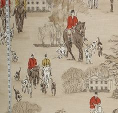 Horse hunt fabric equestrian hounds toile from Brick House Fabric: Novelty Fabric