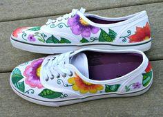 Mano pintada zapatos zapatillas tropical arte arte